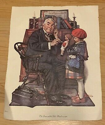 $ CDN7.22 • Buy Vintage Art Norman Rockwell Lithograph On Canvas  The Doctor And The Doll