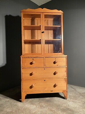 19th Century Pine Housekeepers Glazed Cabinet On Chest • 375£