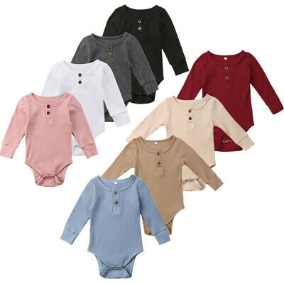 AU18.29 • Buy Toddler Baby Kids Girls Boys Long Sleeve Solid Romper Bodysuit Casual Clothes AU