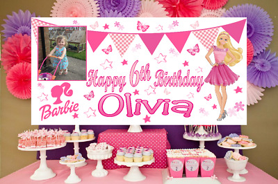 Large Personalised Barbie Birthday Poster Banner Photo Party Decorations Girls • 10.95£