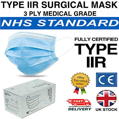 Type Iir Surgical Mask 3 Ply Medical Grade Face Mask Box 50 En14683 Ce Approved • 15.99£