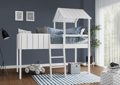 Kids Cabin Bunk Bed Wooden Single Loft Mid Sleeper With Ladder Treehouse Canopy • 249.99£