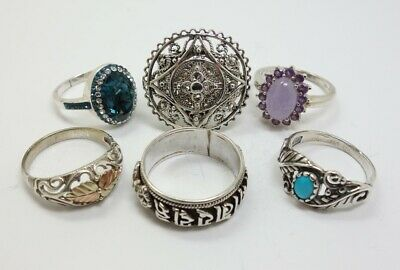 $149.98 • Buy Lot 6 Estate Sterling Silver Rings Turquoise Lavender Jade Coleman Sizes 9-12.75