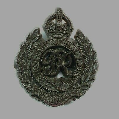 WW2 Royal Engineers Plastic Economy Cap Badge Genuine By A Stanley & Sons Walsal • 18.32£
