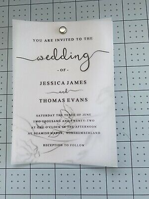 £29.99 • Buy 20 Personalised A5 Size Wedding Invitations Printed On Card & Vellum + Envelopes