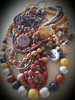 $ CDN14.85 • Buy Vintage Necklace Lot Variety Beads,nuts,wood,,artisan Jewelry,earrs Signed! L#14