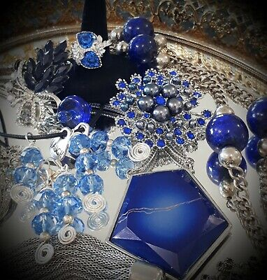 $ CDN15.25 • Buy 💕vintage Blues Jewelry Lot Necklaces, Brooches, Ear,ring,sarah Coventry💕lot#12