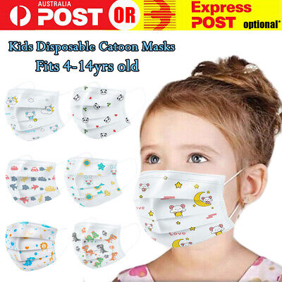 AU27.99 • Buy Disposable Kids Children Face Cartoon Masks Anti Bacterial Filter 3 PLY Layer AU