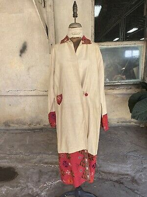 Antique 1920s Raw Silk Indian Coat Duster Jacket Embroidery Mirrorwork Vintage • 288.89£