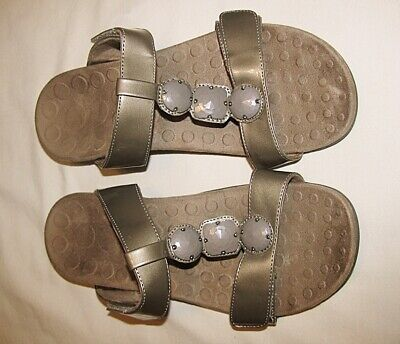 £14.16 • Buy VIONIC ORTHAHEEL Albany Taupe T-Strap Slides Sandals Size 40 US 9