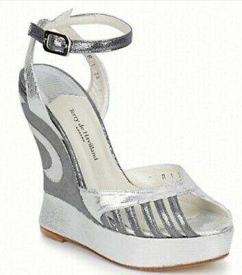 Terry De Havilland Silver Margaux Wedges Size Shoes 40 Rrp £315 • 199.99£