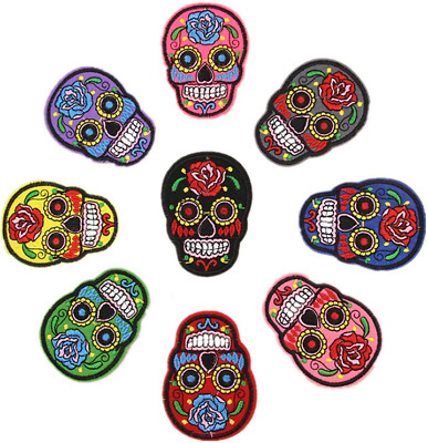 £2.19 • Buy Skull Embroidered Iron On Sew On Patches Transfers Badges Rose Flower Patch
