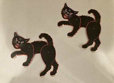 $ CDN58.13 • Buy Lot Of 2 VINTAGE Halloween Jointed Moveable Die Cut Black Cats - USA