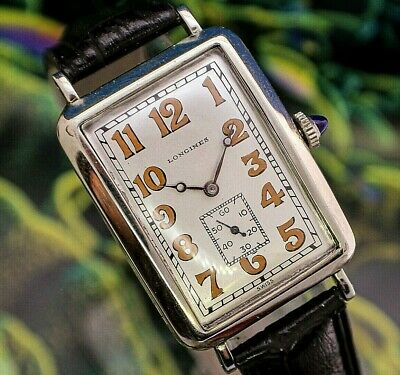 $ CDN358.89 • Buy 🔥Vintage Mens 1928 RARE Longines Banana 44mm Curvex 14K White GF Art Deco Watch