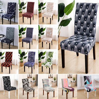 AU13.69 • Buy 1/2/4/6PCS Plain Dining Chair Seat Covers Slip Stretch Wedding Banquet Removable