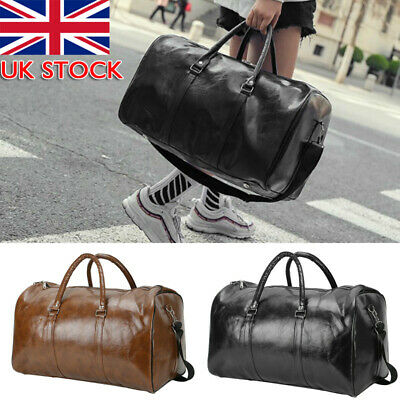 Mens Leather Duffle Weekend Bag Gym Large Travel Womens Luggage Handbag Holdall • 12.39£