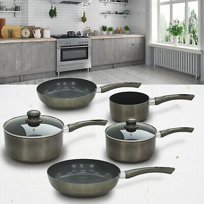 7 Piece Titanium Pro Pan Set Nonstick Ceramic Saucepan Frying Cookware Induction • 39.99£