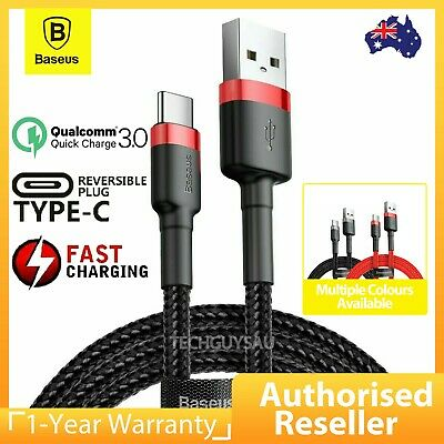 AU9.49 • Buy BASEUS USB To TYPE-C Fast Charger Charging Data Sync Cable Samsung 0.5m/1m/2m/3m