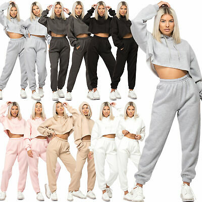 Womens Casual Tracksuit Oversize Crop Hoodie Joggers Sweat Pants Lounge Wear Set • 24.99£