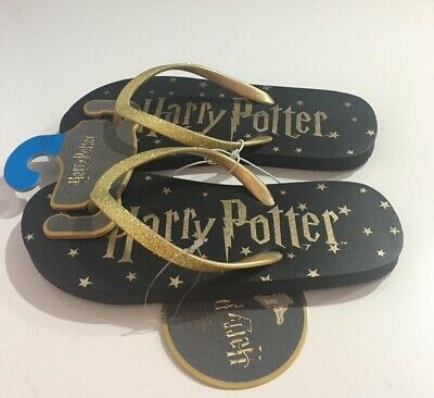 $ CDN10.28 • Buy Harry Potter Flip Flop Black With Gold Summer Beach Holiday Slippers Primark