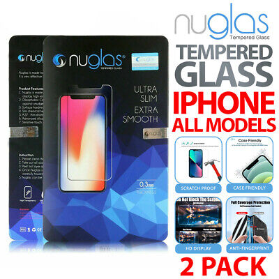 AU5.90 • Buy 2x NUGLAS GENUINE Tempered Glass Screen Protector IPhone 12 11 X XS Max XR 8 7+