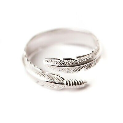 TinkerBoo™ Sterling 925 Silver Adjustable Angel Feather Ring • 10.99£