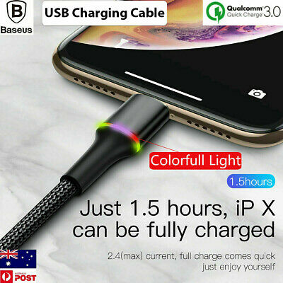 AU10.49 • Buy Baseus Colorful LED Braided Charging Charger Cable For IPhone XS Max XR X 8 7 6