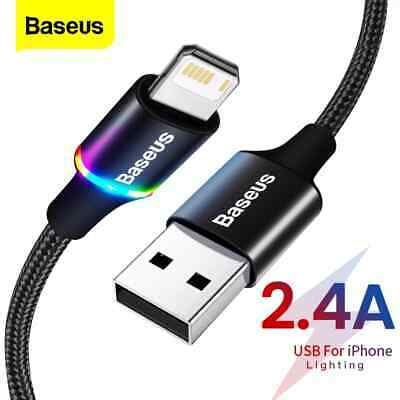 AU8.49 • Buy Baseus Colorful LED Braided Charging Charger For Apple IPhone IPad Lightening