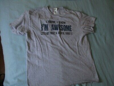 Men's Tee T Shirt Gray Large New I Know I'm Awesome Big Deal Outta It Preowned • 7.09£