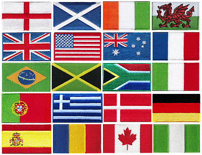 Embroidered National FLAGS Sew On Iron On Country Patches 6.3cm X 3.8cm Badges • 1.69£