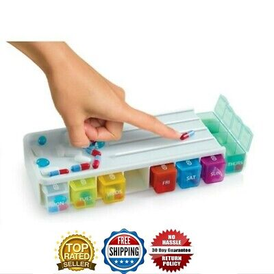Weekly Pill Box Organiser With Pill Cutter 4 Compartments 7 Days Colour Code • 4.99£