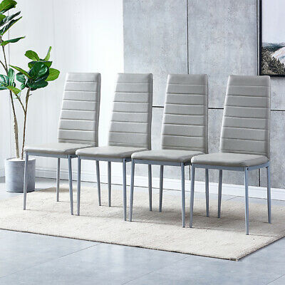 £79.99 • Buy 4× Grey Faux Leather Dining Chairs Metal Legs High Back Kitchen Dinning Room UK