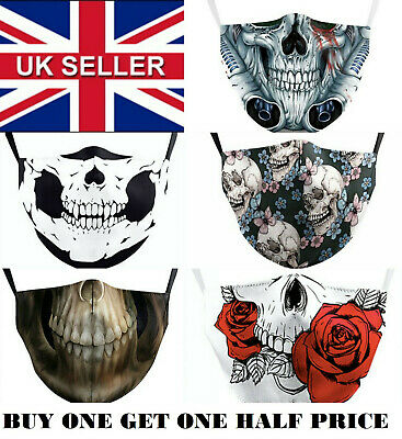 Adult, Men's, Women's Gothic Skull Washable Face Covering,Mask,Teeth Free Filter • 7.50£