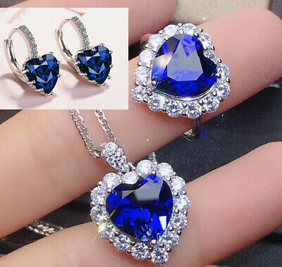 Heart Crystal Pendant 925 Sterling Silver Stud Chain Necklace Womens Jewellery • 3.99£