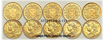 $4320.27 • Buy Lot Of 10 Pre-1933 Swiss HELVETIA 20 Franc Gold Coins BU Brilliant Uncirculated