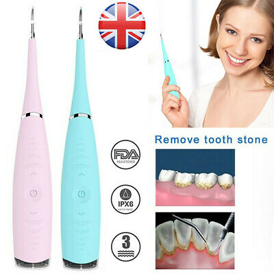 Electric Sonic Dental Scaler Plaque Tartar Calculus Remover Tooth Stains Tool UK • 9.29£