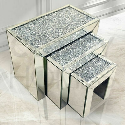 Mirrored Table Nest Of Tables Crushed Crystal Diamond Living Room Side Stand • 299.99£