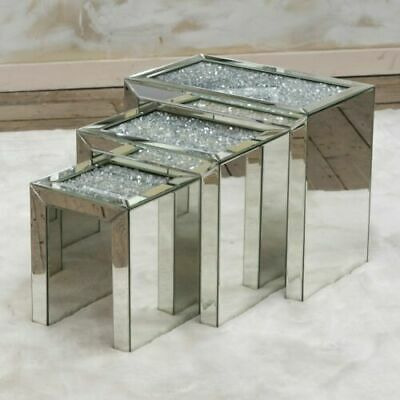 Mirrored Table Nest Of Tables Crushed Crystal Diamond Living Room Coffee Stand • 299.99£