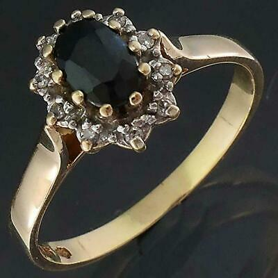 AU249 • Buy Classic Oval SAPPHIRE 10 DIAMOND HALO 9k Solid Yellow GOLD CLUSTER RING Lgr Sz S