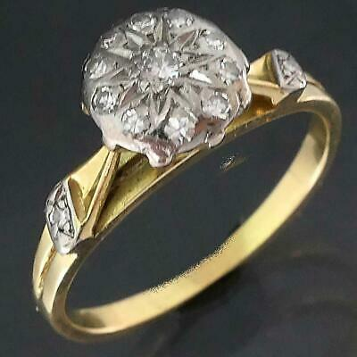 AU385 • Buy 1960's VINTAGE 18k Solid Yellow GOLD 13 DIAMOND RAISED CLUSTER RING Smll Sz J1/2