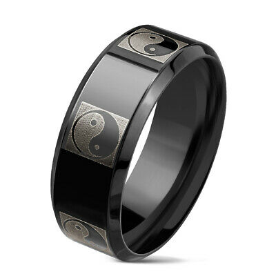 Tapsi ´S ´S Coolbodyart Finger Ring Band Stainless Steel 316L Black Yin Yang • 11.02£