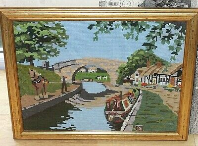 Tapestry Picture Canal Barge Shire Heavy Horse Framed Cow Church 21x17   • 29.99£
