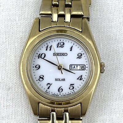 $ CDN79.99 • Buy Seiko Solar Ladies Gold Tone Stainless Watch #V138-0AA0  Day Date Tested