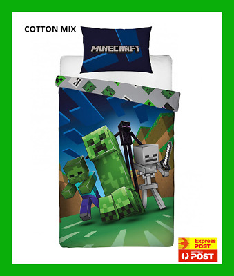 AU79.95 • Buy MINECRAFT CREEPS SINGLE Bed Reversible QUILT DOONA COVER SET NEW