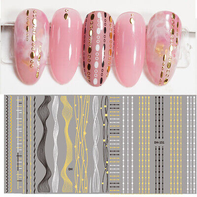 1 Sheet 3D Nail Stickers Black White Gold Lines Gilded Decal Tassel Strip Foils • 2.28£