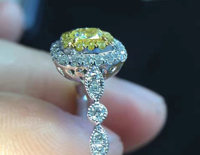 2.90Ct Cushion Cut Canary Yellow Diamond Halo Engagement Ring 14K Gold Over • 75.39£