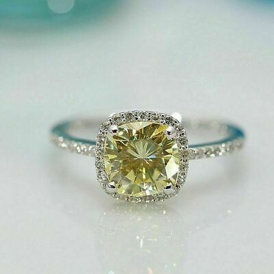 2Ct Cushion Canary Yellow Diamond Halo Engagement Ring White Gold FN Silver • 100.99£