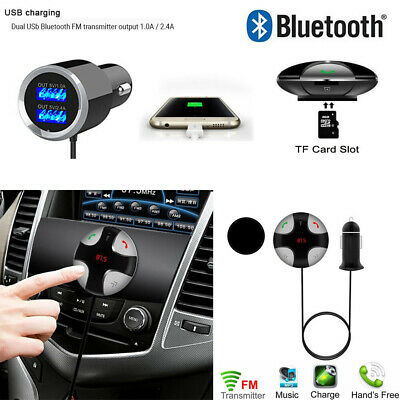 Bluetooth 4.2 Handsfree Car Kit FM Transmitter MP3 Player & USB Charger Magnetic • 11.89£