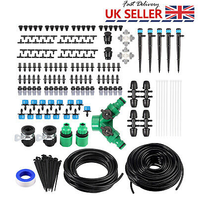 Watering Micro Drip Irrigation System Garden Automatic Kit 40m Hose Plant Set • 19.65£