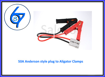 AU24.95 • Buy 50 Amp Anderson Style Plug Connector Auto Cable 8AWG To Battery Alligator Clamps